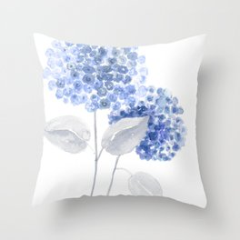 Blue hydrangea painting Throw Pillow