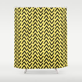 chevron sunny yellow geometric pattern Shower Curtain