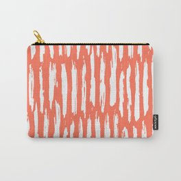 Vertical Dash White on Deep Coral Carry-All Pouch