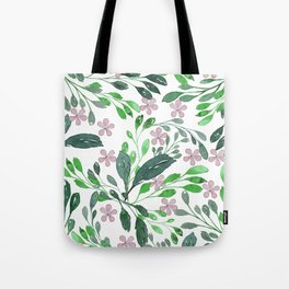 Forest green blush pink watercolor floral Tote Bag