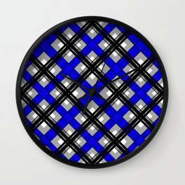 Combo black blue plaid Wall Clock