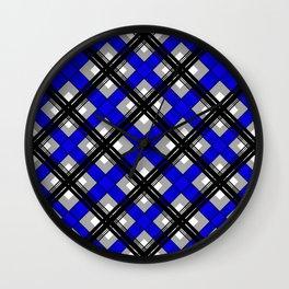 Combo black blue plaid Wall Clock