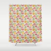 fruits Shower Curtains featuring Fruits by slicknik