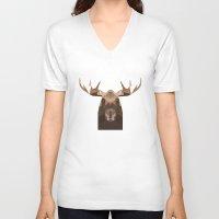 moose V-neck T-shirts featuring Moose by Alysha Dawn