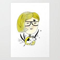 Hipster Girl Art Print