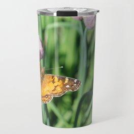 Orange Butterfly on Chives Travel Mug
