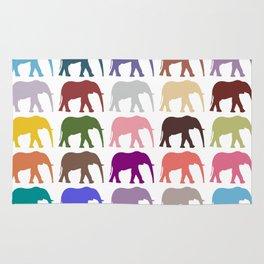 Colorful Elephants - Pink Purple Green Blue Rug