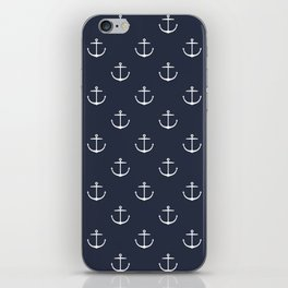 Yacht style. Anchor. Navy blue. iPhone Skin