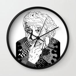 Albert Einstein - black and white Wall Clock