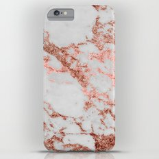 Stylish white marble rose gold glitter texture image Slim Case iPhone 6s Plus