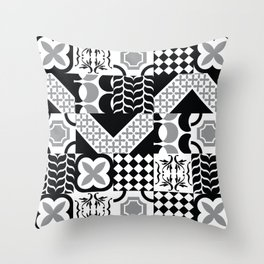 Black & White Mixed Square Tiles Patterns Throw Pillow