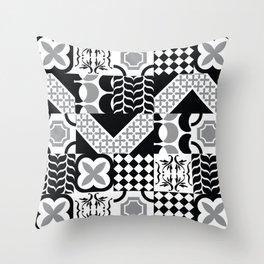 Black & White Mixed Square Tiles Patterns Throw Pillow