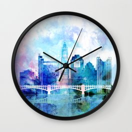 Columbus city watercolor skyline Wall Clock