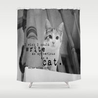 edgar allan poe Shower Curtains featuring Cat Quote Edgar Allan Poe by KimberosePhotography