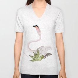 dancing flamingo 2 Unisex V-Neck