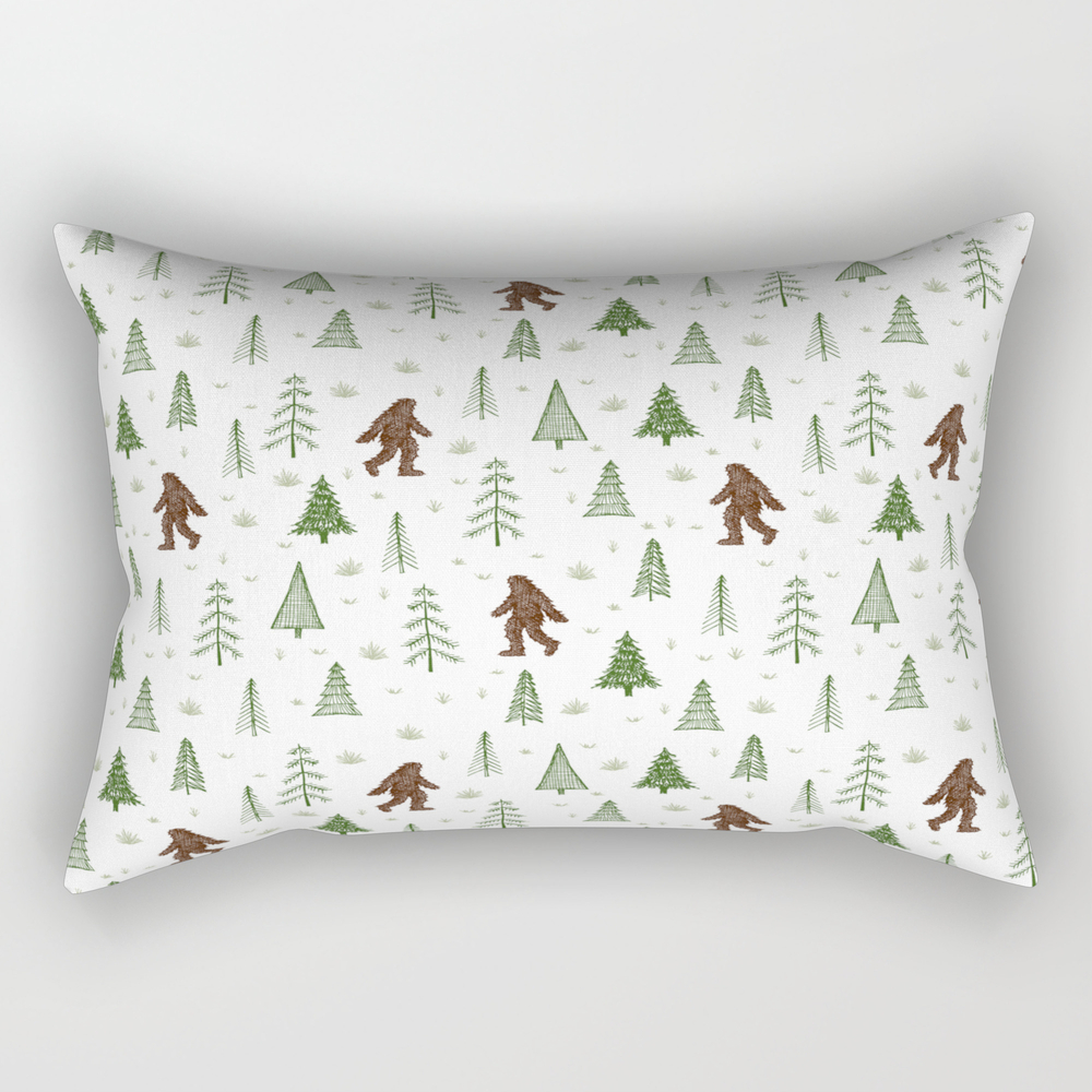 Trees + Yeti Pattern In Color Rectangular Pillow RPW8597777