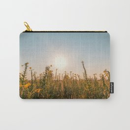 Uncultivated field in the Lomellina countryside at sunset full of yellow flowers Carry-All Pouch