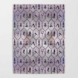 Amethyst Yoga Asanas pattern on mother of pearl Poster