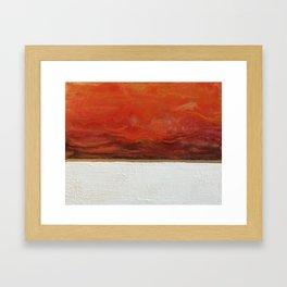 Northern Lights (red) Original Encaustic Painting Framed Art Print