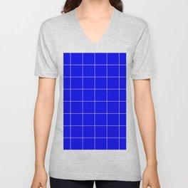 Graph Paper (White & Blue Pattern) Unisex V-Neck