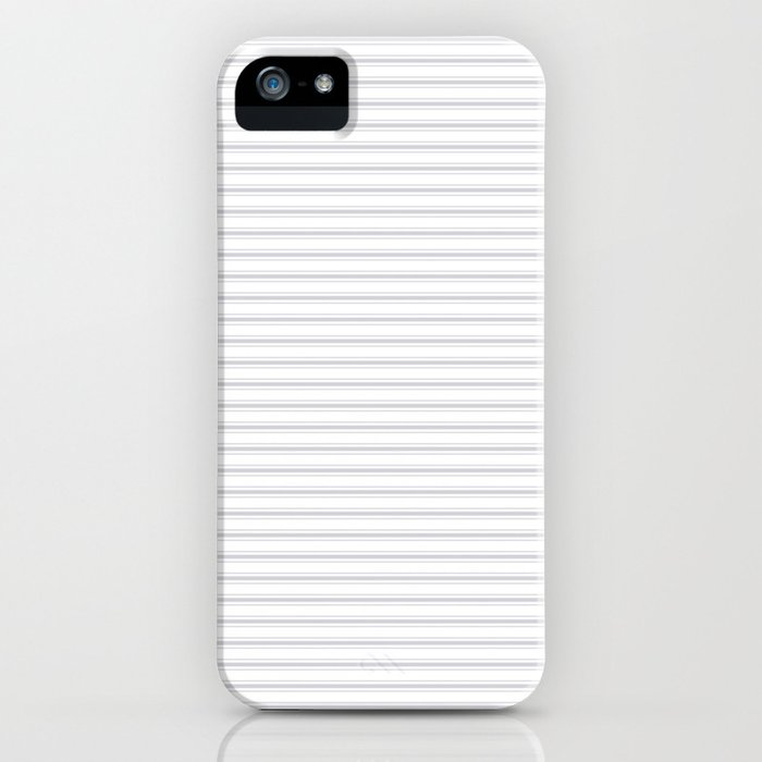 Soft Grey Mattress Ticking Narrow Striped Pattern - Fall Fashion 2018 iPhone Case