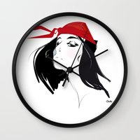 quibe Wall Clocks featuring Elektra after Gruau by quibe