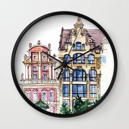 Watercolor architecture sketch Wall Clock