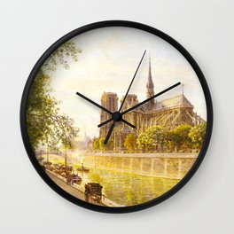 L'lle de la Cite and the Cathedral of Notre Dame, Paris from Quai Montebello by Firmin-Girard Wall Clock