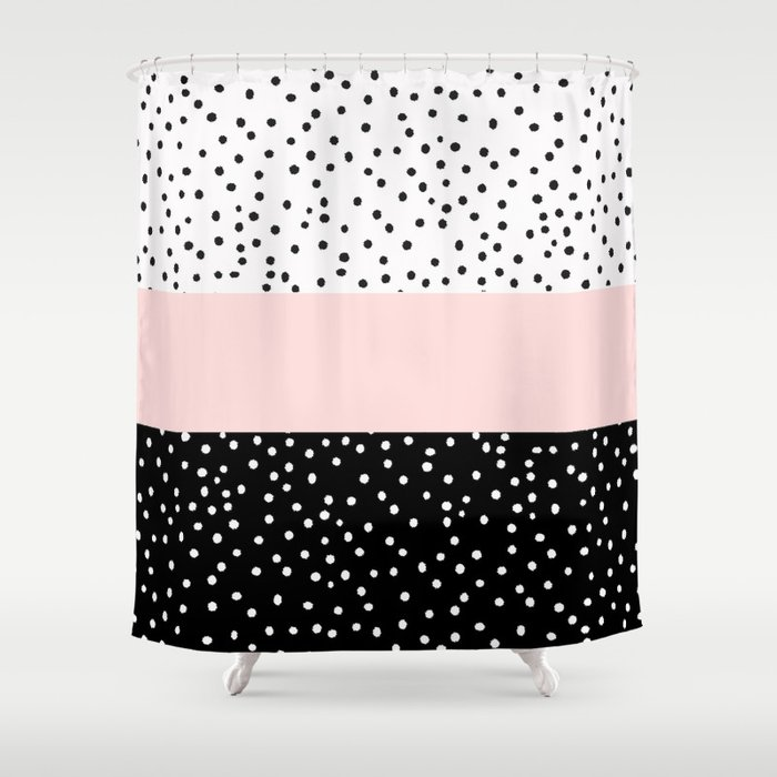 Perfect Pink White Black Watercolor Polka Dots Shower Curtain
