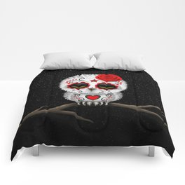 Adorable Red Day of the Dead Sugar Skull Owl Comforters