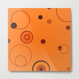 Orange retro style circles on orange  background Metal Print