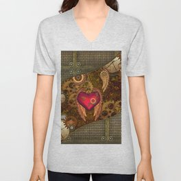 Steampunk, heart with wings Unisex V-Neck
