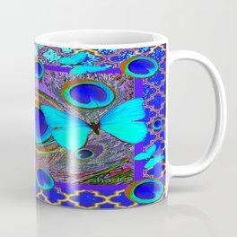 Abstract Blue Butterflies  Peacock Feather Eyes Pattern Art Coffee Mug