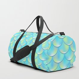 Turquoise Blue Mermaid Pattern, Holographic Fish Scale Print Duffle Bag