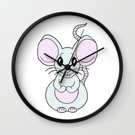 Drawn by hand a Friendly little mouse for children and adults Wall Clock