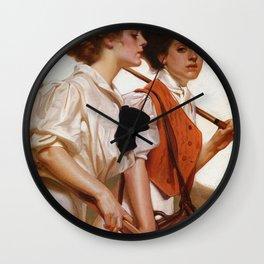 Joseph Christian Leyendecker - Maidens Playing Golf And Tennis - Digital Remastered Edition Wall Clock