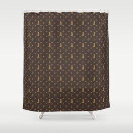 Louis Pitbull Luxury Dog Bling Pattern Shower Curtain