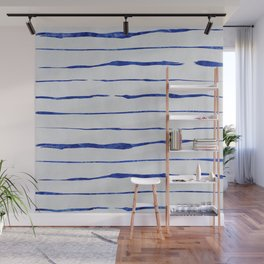 Blue Wiggly Stripes Pattern Wall Mural