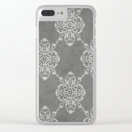 Vintage Damask - Charcoal Clear iPhone Case