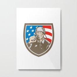 World War Two Soldier American Grenade Crest Woodcut Metal Print