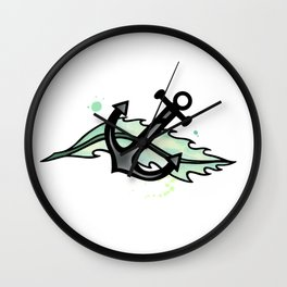 Anchor and Leaf Wall Clock