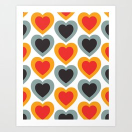 Mid-century Modern Hearts, Abstract Vintage Heart Pattern in Classic Red, Orange, Black and Grey Blue Color Art Print