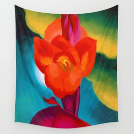 Red Canna Lilies Flower Still life Portrait Painting by Georgia O'Keeffe Wall Tapestry