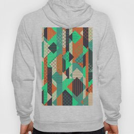 Squares Grids Stripes II (Modern Retro Color Palette) Hoody