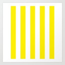 Canary yellow - solid color - white vertical lines pattern Art Print