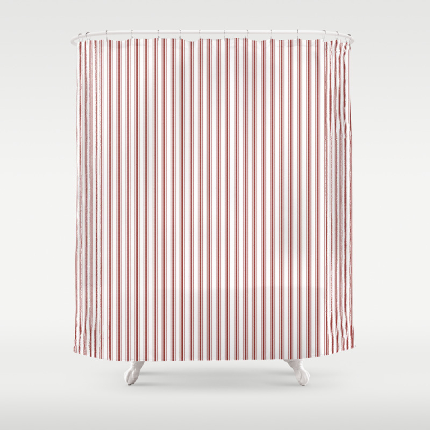 Vintage New England Shaker Barn Red Milk Paint Mattress Ticking Vertical Narrow Striped Shower Curtain