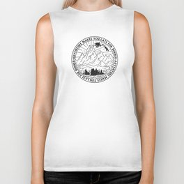 adventure makes you late for dinner x typography Biker Tank