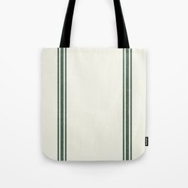 Vintage Country French Grainsack Green Stripes Creme Background Tote Bag