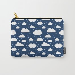 Night Sky, Fluffy White Clouds and Stars on navy - pattern Carry-All Pouch