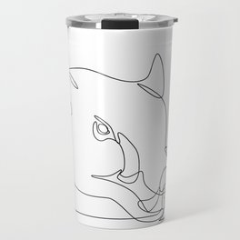 Wild Pig Head Continuous Line Travel Mug